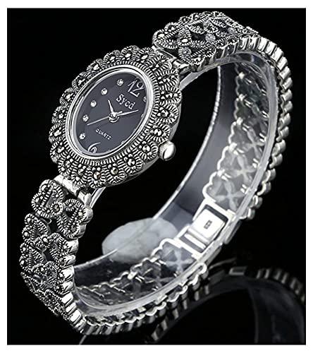 CDPC Reloj de Pulsera para Mujer Reloj Retro de Plata de Ley 925 Movimiento de Cuarzo Reloj de Diamantes con Incrustaciones ovaladas Reloj de Negocios Informal Reloj de Pulsera