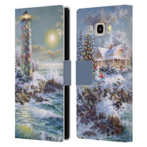Head Case Designs Offizielle Christmas Mix Nicky Boehme Leuchtturm Winterlandschaft Leder Brieftaschen Huelle kompatibel mit Samsung Galaxy J5 (2016)
