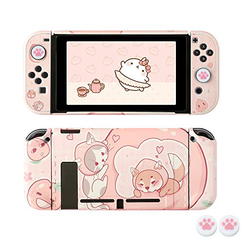 [Pro Version] Hülle für Nintendo Switch, FANPL Schutzhülle für Nintendo Switch und Joy Con Controller mit 2 Cat Claw Daumengriffen (Honey Peach)
