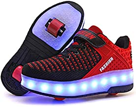 Ufatansy LED Shoes USB Charging Flashing Sneakers Light Up Roller Shoes Skates Sneakers with Wheels for Kids Girls Boys(13 M US =CN31, Double Wheel, Red)
