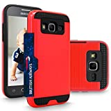 Galaxy Core Prime / Prevail Case, Cellularvilla Dual Layer Protective Shockproof Bumper Case [Wallet] Card Slot Hard Shell Cover For Samsung Galaxy Core Prime / Prevail LTE G360 (Red Black)