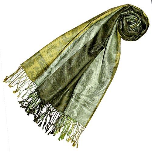 Lorenzo Cana Lorenzo Cana Silk Pashmina Damen Schal Schaltuch jacquard gewebt 100% Seide 70 cm x 190 cm Paisleymuster Seidenschal Seidentuch Seidenpashmina harmonische Farben 7820733