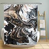 MUATOO Duschvorhang mit abstrakter Textur, Polyester-Stoff, maschinenwaschbar, moderne Heim-Badezimmerdekoration, 183 x 183 cm, schwarz/weiß/gold