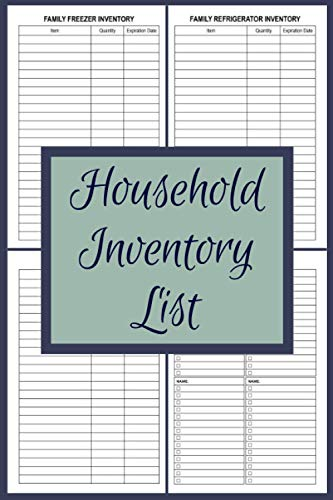 Household Inventory List: Household Inventory Grocery Shopping Checklist For Freezer, Refrigerator And Pantry Organizational Log Book With Notes   6 x 9 With 120 Pages