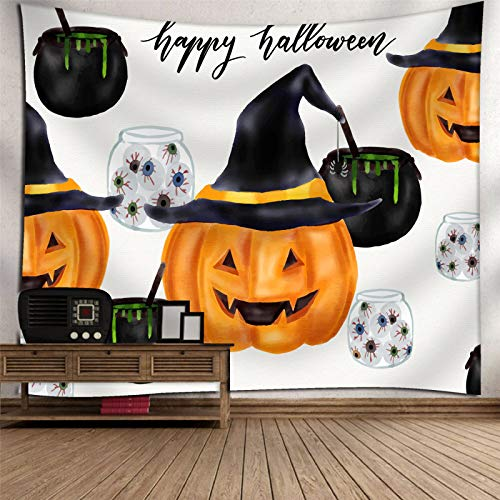 DHHY Polyester 3D Printing Tapestry, Halloween Pumpkin Printing Tapestry Tapestry, Halloween Home Decoration Tapestry
