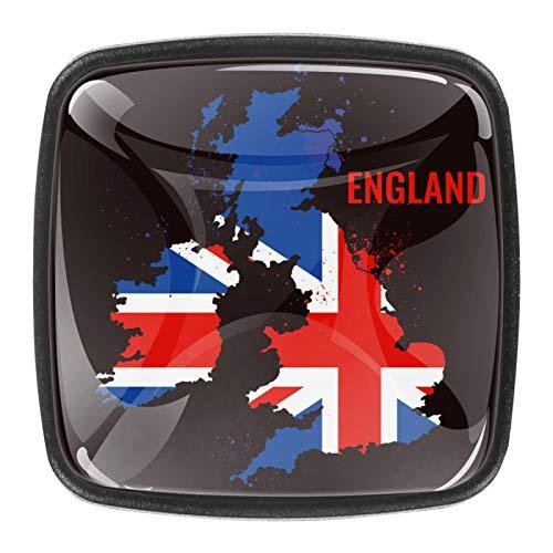 (4 piezas) pomos de cajón para cajones, tiradores de cristal para gabinete, hogar, oficina, armario, bandera de Inglaterra
