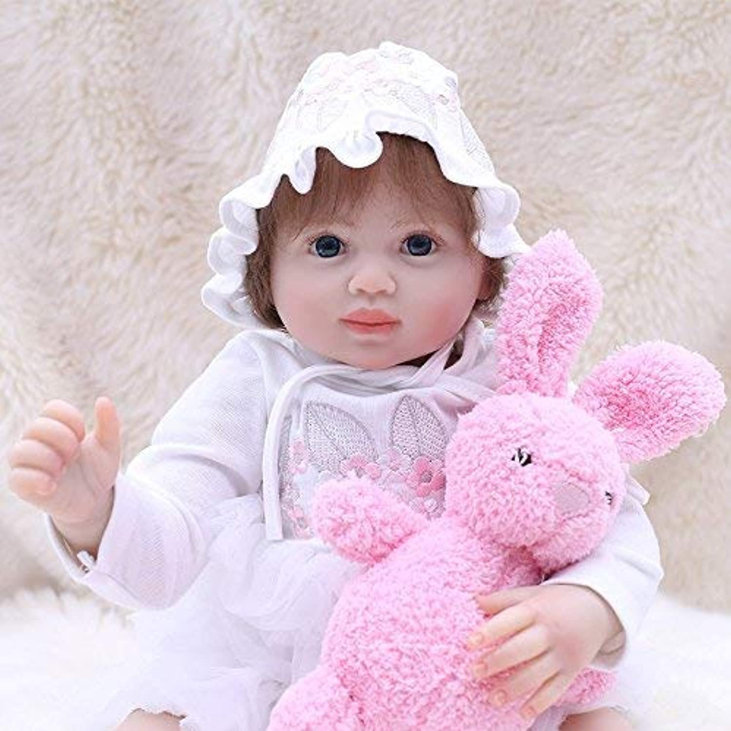 New 18  45 CM Realistic Reborn Baby Dolls Look Real Girl Soft Silicone Vinyl Reborn Toddler Baby Doll Realistic Real Lifelike Looking Newborn Dolls Baby Girl Toy Best Xmas Gift With Pink Rabbit