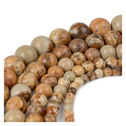 Linyuex 4,6,8,10,12mm Natural Stone Beads Black Lava Tiger Eye Bulk Loose Stone Beads For DIY Making Bracelet Necklace Jewelry (Color : Picture stone, Size : 4mm-92pcs)