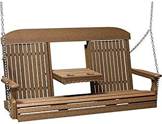 LuxCraft Classic Highback 5ft. Recycled Plastic Porch Swing with Flip Down Center Console