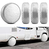 Kohree Tire Covers for RV Wheel Covers Set of 4, Trailer Camper Motorhome Wheel Covers for 27' to 29' Tires Diameters, Waterproof Snow UV Sun Tire Protector, Aluminum Film