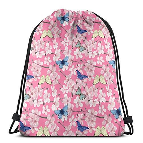 Cherry Blossoms and Butterflies Training Gymsack con correa de cordón, para gimnasio, deportes, para adolescentes, hombres y mujeres, 36,1 x 42,8 cm