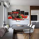 RTAGBFND 5 Paneles de temática de Cocina, Lienzo Decorativo, Impresiones artísticas, Tomate y Chile,...