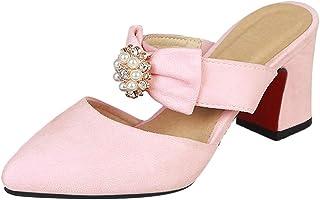 ELEEMEE Woman Sweet Block Heel Mules Pointed Toe Slide Sandals Bowknot Summer Shoes