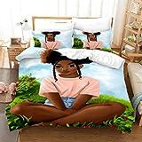 kxry 3D African American Black Girl Magic Bedding Set Queen Size Sexy Afro Woman Lady Duvet Cover for Girls Kids Teens 1 Duvet Cover + 2 Pillow Shams