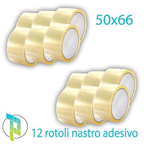 Palucart 12 pezzi rotoli nastro adesivo pacchi 50x66 svolgimento SILENZIOSO nastro da imballo colore TRASPARENTE