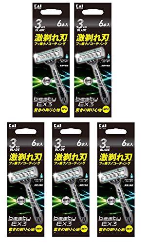 貝印 besty EX3(ベスティー イーエックススリー)3枚刃 使い捨てカミソリ 6本入【×5個セット 30本】