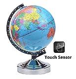 32cm Illuminated World Globe 4 Way Touch Control Lamp Light-Chrome