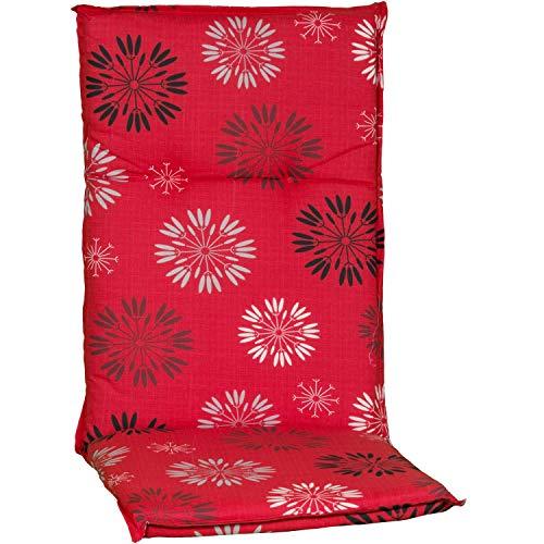 Beo Gartenstuhlauflagen Hochlehner UV-beständig Barcelona | Made in EU nach Öko-Tex Standard | Hochlehner Auflagen waschbar | Atmungsaktive Stuhlauflagen Hochlehner mit Ornamenten in Dunkel-Grau