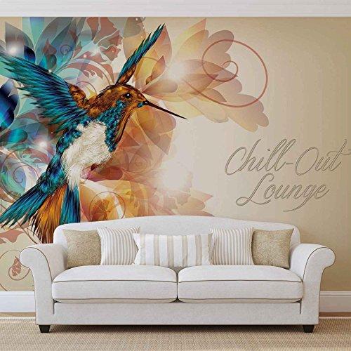 Kolibri Blumen Abstrakt - Forwall - Fototapete - Tapete - Fotomural - Mural Wandbild - (780WM) - XXXL - 416cm x 254cm - VLIES (EasyInstall) - 4 Pieces