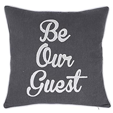 DecorHouzz Be Our Guest Appliqued Pillowcases Embroidered Pillow Cover CushionThrow Pillow Decorative Pillow Wedding Birthday Anniversary Gift 18 X18  (Grey)