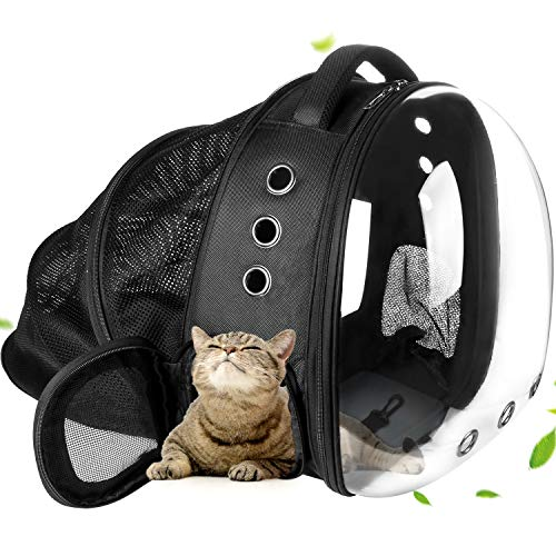 YUEJING Cat Bag Carrier Backpack, Animal Carrying Backpack for Cat and Puppy, Comfort Expandable Cat Backpack for Hiking Travel Camping Outdoor, Pet Bag Backpack with Space Capsule Bubble Design