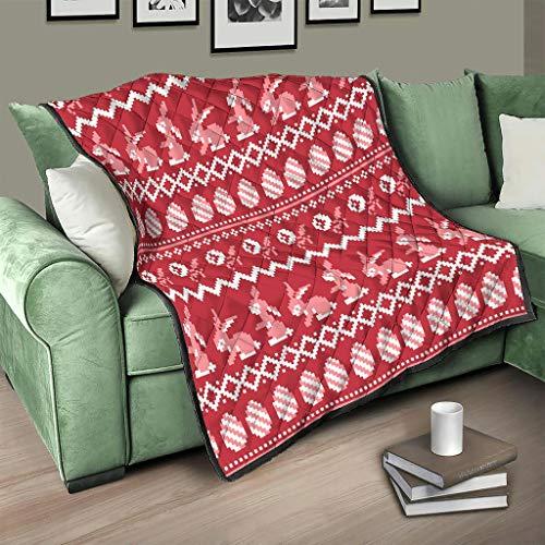 AXGM Colcha de color rojo con conejos de Pascua y huevos, manta cálida para sofá blanca, 173 x 203 cm