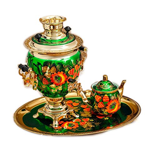 """Electric Samovar Set """"Poppies"""" Traditional Russian Tea Maker with Tray Green Design"""