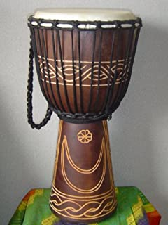 """20"""" X 10-11"""" Deep Carved Djembe Bongo Drum, Moon & Star, with Free Cover, Model # 50m15"""