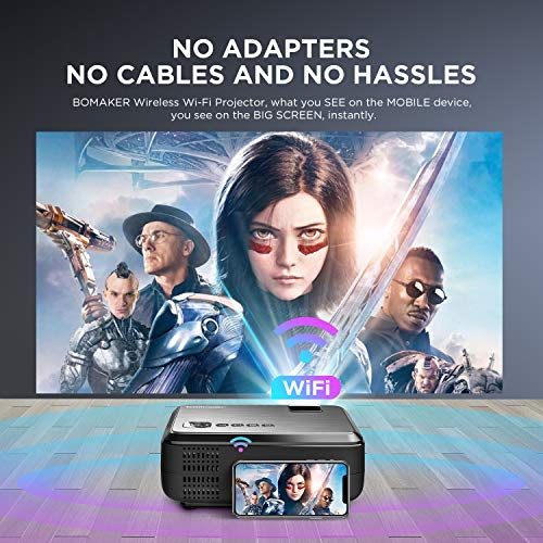BOMAKER WiFi Projector, Wireless Screen Mirroring Portable Outdoor Movie Projector, Full HD Native 720P Projector with…
