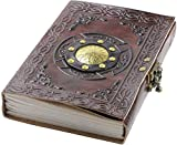 A5 Book of Shadows Travel Leather Journal Notebook, Supernatural Spellbook, Writing Diary With Lock, by Fortessa