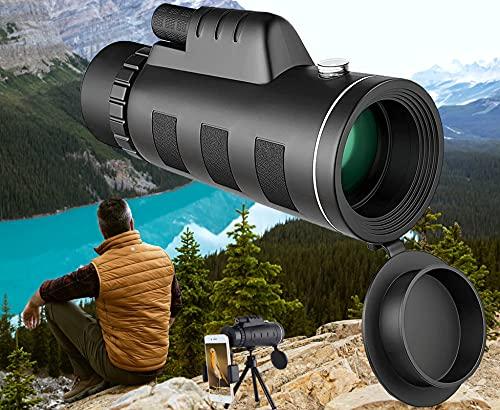 Monokular Teleskop, 40X60 HD High Power IPX5 Wasserdicht Starscope, FMC BAK4 Fernrohr Monokular-mit Smartphone Halter & Stativ und Aufbewahrungstasche für Vogelbeobachtung Camping Konzert Fußballspiel