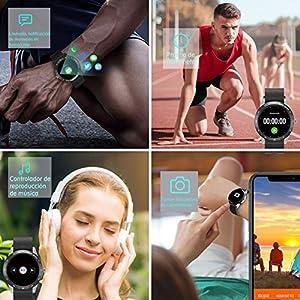 """HAOQIN Smart Watch Fitness Tracker HaoWatch VS1 1.3""""Pantalla táctil Completa IP67 Impermeable con Monitor de frecuencia cardíaca Teléfonos compatibles con iPhone y Android Plata"""