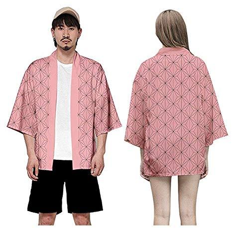 Unisexe Demon Slayer Coat Shirt Suit Cosplay Kimetsu no Yaiba Personnages Kimono Haori Open Botton Jacket (Rose, L)