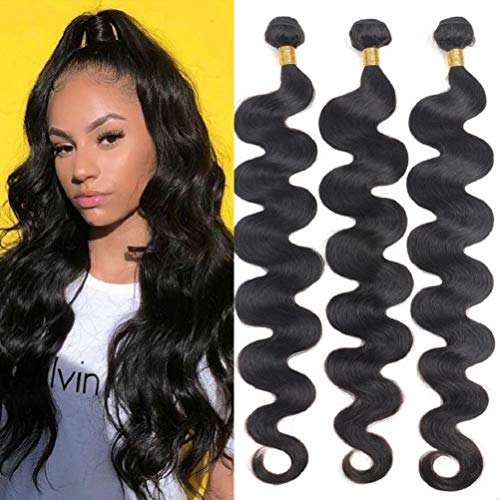 10A Brazilian Body Wave Bundles (18 20 22) 100% Virgin Human Hair 3 Bundles Unprocessed Weave Hair Human Bundles of Brazilian Hair Natural Black