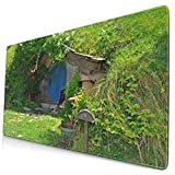 CANCAKA Large Gaming Mouse Pad,Fantasy Hobbit Land House in Magical Overhill Woods Movie Scene New Zealand,Non-Slip Rubber Mouse Pads Mousepad for Gaming Computer Office Desk,75×40×0.3cm