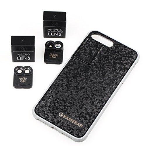 Kamerar Kit De Lentes De Zoom para La Cámara del Teléfono Inteligente Apple iPhone 7 Plus: Sistema De Óptica Dual, Ojo De Pez, Telefoto, Lente De Zoom Macro, Estuche Protector, (Negro)