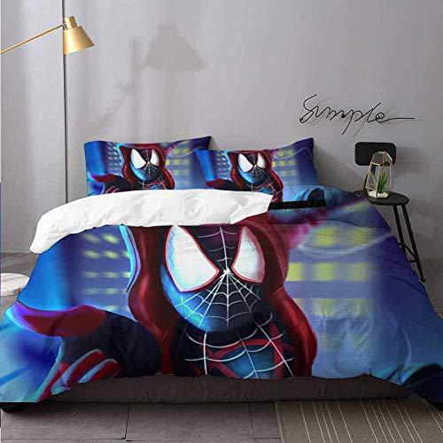 Juego de funda de edredn y fundas de almohada, diseo de Spiderverse, con cierre de cremallera, juego completo de funda de edredn de 3 piezas