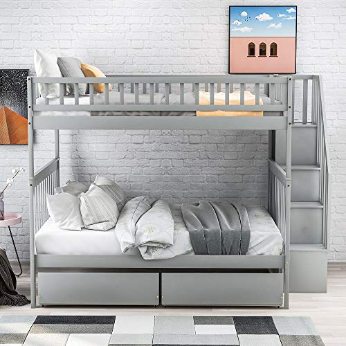 Bunk Beds Full Over Full Size Solid Wood Full Bunk Beds With Drawers And Stairway Full Length Guardrail No Box Spring Buy Online In Aruba At Aruba Desertcart Com Productid 205443486