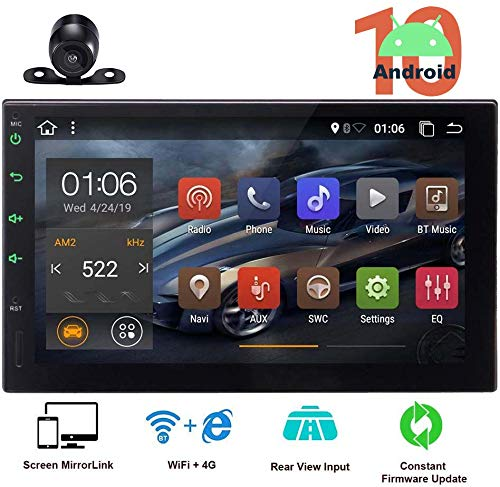 Android 10.0 Double Din GPS Navigation 2 Din Car Stereo Bluetooth in Dash Touch Screen Radio MirrorLink Autoradio Head Unit Audio Video Player USB/SD+ Free Rear Camera Steering Wheel Control