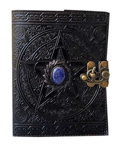 Wiccan leather journal black pentagram embossed blank spell book of shadows pentacle witchcraft handmade third eye stone leather journal with clasp lock grimoire pagan 7x5 inch celtic unlined notebook