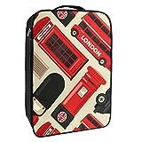 Caja de almacenamiento para zapatos de viaje y uso diario Londres Icon Set organizador portátil impermeable hasta 12 yardas con doble cremallera y 4 bolsillos
