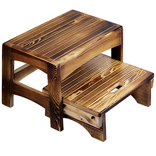 URFORESTIC Handcrafted 100% Solid Wood Bed Step Stool-Foot Stool Kitchen Stools Bed Steps Small Step Ladder Bathroom Stools (Burned)