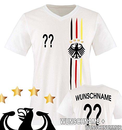Comedy Shirts - WM 2018 | M1 | VORNE + HINTEN | Wunsch - Herren V-Neck T-Shirt - Weiss/Schwarz-Rot-Gelb Gr. S