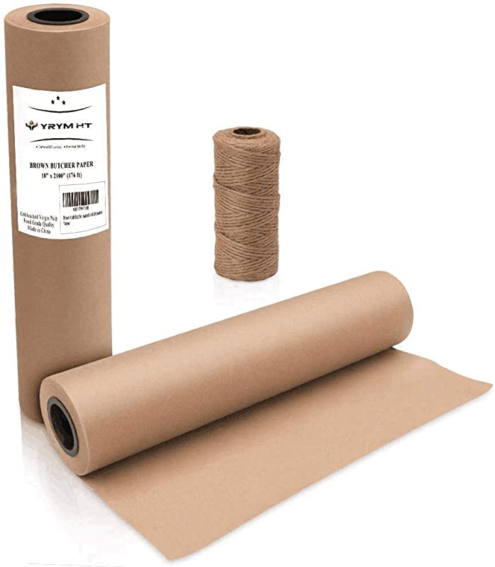Brown Kraft Butcher Paper Roll Natural Food Grade Brown Wrapping Paper For BBQ Briskets Smoking Wrapping Meats 18 X 2100 176 Ft FDA Approved Unbleached Unwaxed And Uncoated