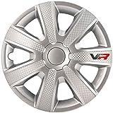 AutoStyle - Copricerchi VR, 14 pollici, colore: Argento, 4 pezzi