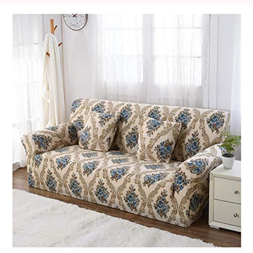 wjwzl Europäischer Stil geometrische Sofahusse, Polyesterfaser, bedruckter Stretch-Schutzbezug, passend für die meisten Sofa-Überzüge, 4 seat Sofa Cover :235-300cm