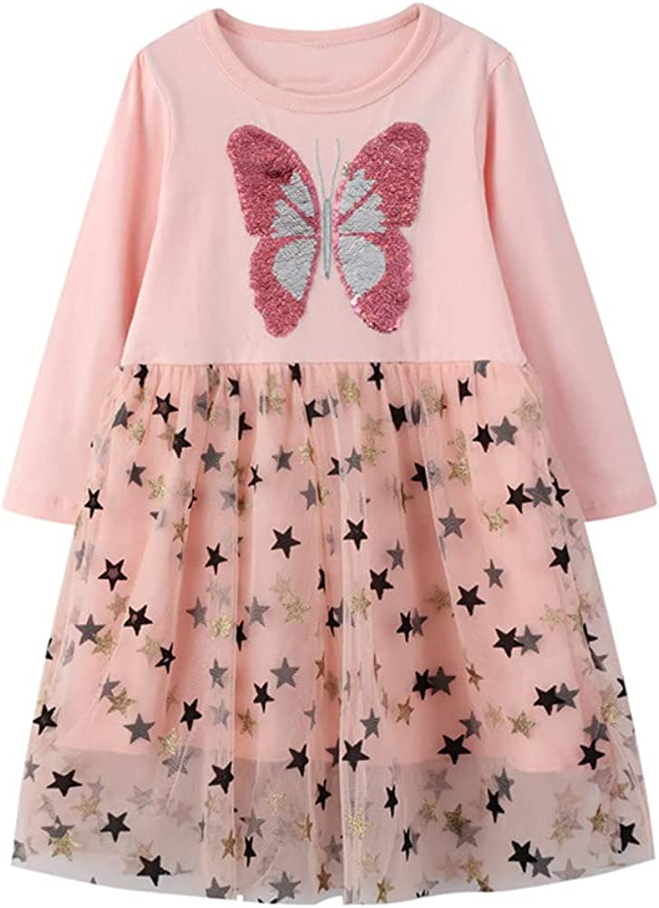 Little Girls Causal Long Sleeve Cartoon Floral Unicorn Cotton Playwear Party Sundresses Outfits with Tulle 2-7Years