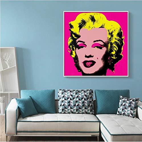 JIUJIUJIU Cartel Moderno Andy Warhol Imagen Abstracta Marilyn Monroe Arte Lienzo Pintura Pared Cuadros para Sala de Estar decoración del hogar sin Marco 40 * 40 cm