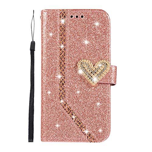 DENDICO Galaxy J3 2018 Hülle, Premium Glitzern Schutzhülle Flip Handy für Samsung Galaxy J3 2018 Brieftasche Tasche Hülle mit Ständer und Magnetverschluss - Rose Gold
