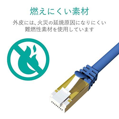 エレコム LANケーブル CAT7/爪折れ防止/10m メタリックブルー LD-TWST BM100 1個 ELECOM